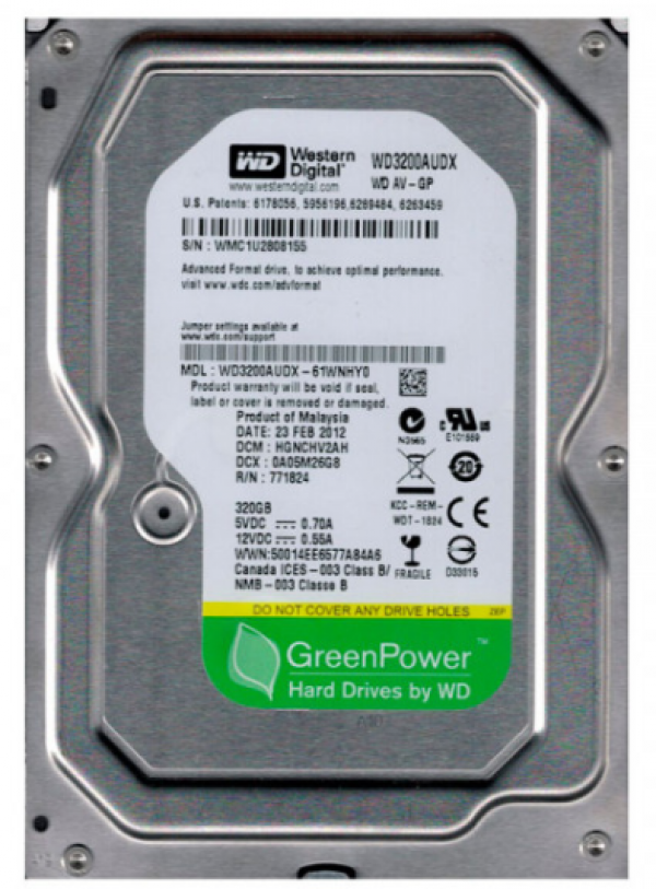 WD 320GB 3.5'' SATA III 32MB WD3200AUDX