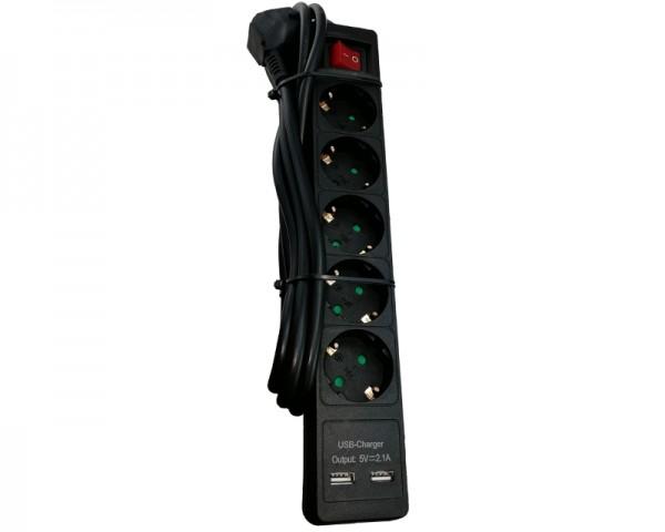 E-Green produžni kabl sa prekidačem 5r/2m + 2 x USB