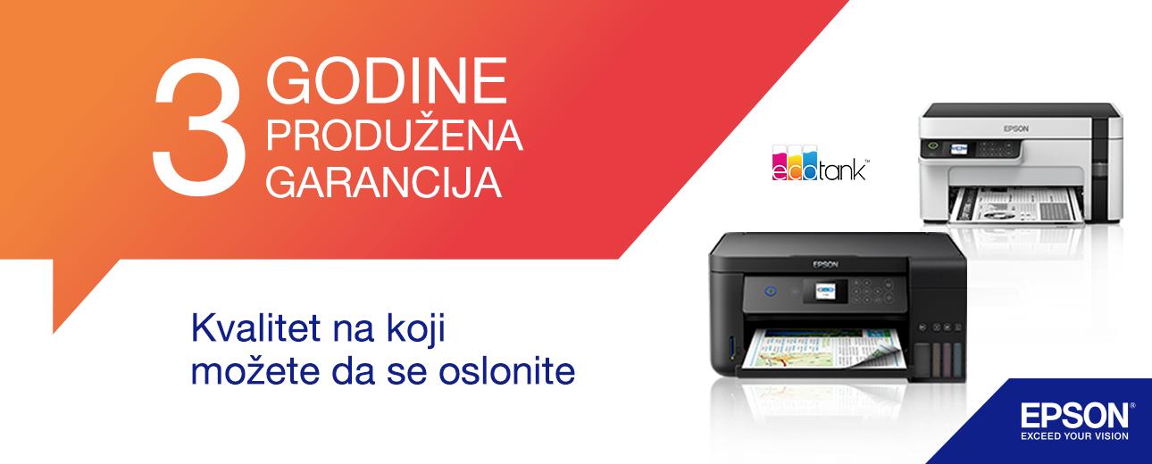 Epson štampači nove generacije dolaze sa 3 godine produžene garancije!